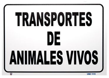 Placa transporte animales vivos