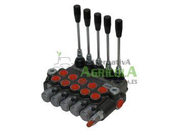 """Distribuidor Hidráulico de 5 Palancas 3/8"""" doble efecto circuito abierto"""